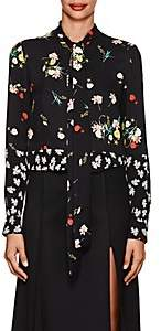Derek Lam Women's Floral-Print Silk Blouse - Black Multi