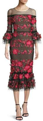 Marchesa Floral Embroidered Dress w/ Ruffle Hem
