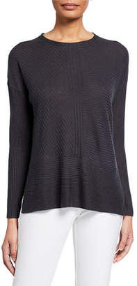 Eileen Fisher Jewel-Neck Long-Sleeve Silk/Cashmere Sweater