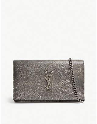 Saint Laurent Monogram metallic leather cross-body purse