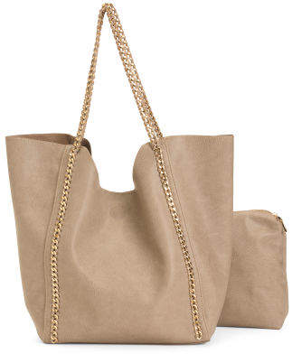 Two In One Tote With Chain Detail And Straps