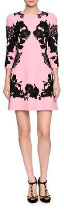 Dolce & Gabbana 3/4-Sleeve Mirrored Lace Dress, Pink/Black $2,995 thestylecure.com