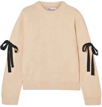 RED Valentino Bow-embellished Ribbed Cotton Sweater - Ecru