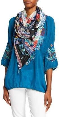 Johnny Was Invo Printed Silk Georgette Scarf
