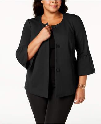 Alfani Plus Size Ponte-Knit Ruffle-Cuff Jacket, Created for Macy's