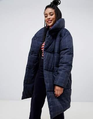 Monki longline grid puffer jacket