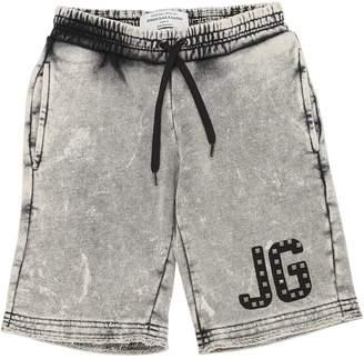 John Galliano Washed Denim Effect Cotton Sweat Shorts