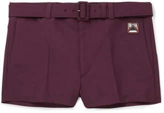 Prada Slim-Fit Logo-Appliquéd Mohair And Wool-Blend Shorts
