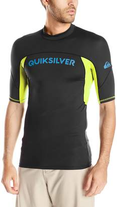 Quiksilver Men's Performer Short Sleeve Rash Guard, Black/Safety Yellow