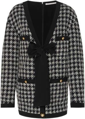 Alessandra Rich Pied De Poule Wool Oversized Cardigan Dress