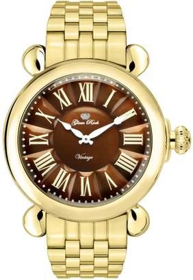 Glam Rock Women's Vintage 40mm Gold Plated Case Swiss Quartz Watch Gr28042-Br