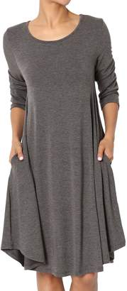 Ash TheMogan Women's Sleeveless Trapeze Knit Pocket T-Shirt Dress Charcoal M