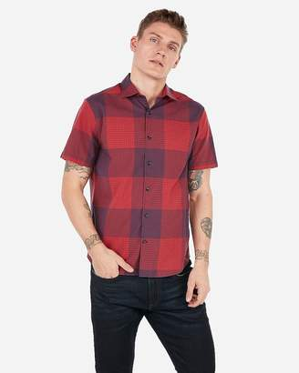 Express Classic Plaid Short Sleeve Shirt