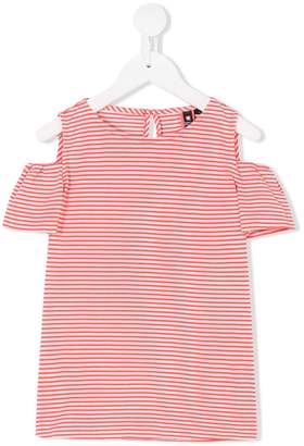 European Culture Kids striped cold-shoulder top