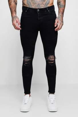 boohoo Spray On Skinny Biker Jeans With Distressed Knees