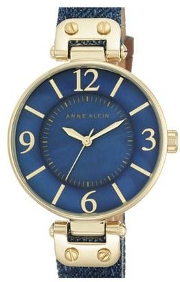 Women's Anne Klein Denim Strap Watch, 34Mm $65 thestylecure.com