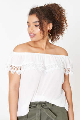fb9137081da74 Ardene Curve Off Shoulder Crocheted Flounce Top