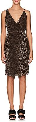L'Agence Women's Julieta Leopard-Print Silk Wrap Dress - Olive