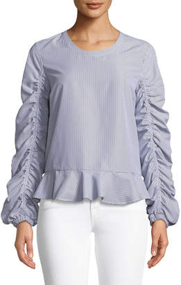 Marled By Reunited Peplum Ruched Sleeve Striped Blouse