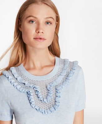 Brooks Brothers Ruffled Pointelle-Yoke Sweater