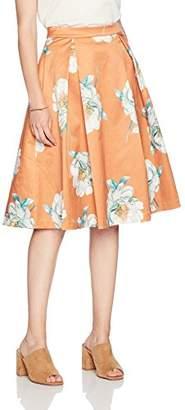 Paris Sunday Women's Sateen Full Midi Skirt Inverted Pleat
