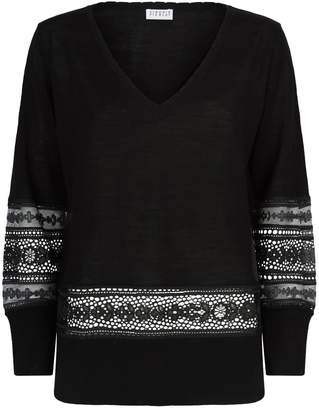 Claudie Pierlot Lace Insert V-Neck Sweater