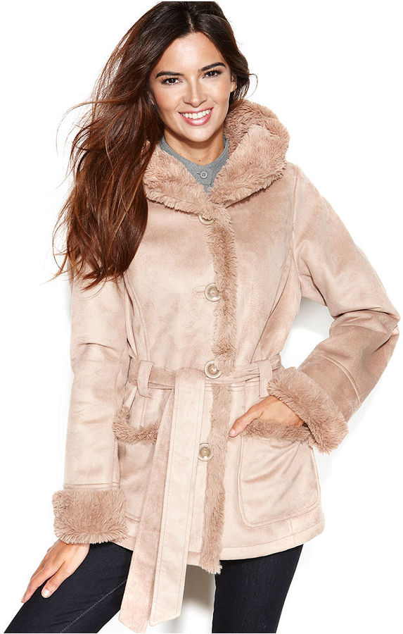 Jones New York Coat, Hooded Belted Faux-Shearling