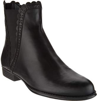 Isaac Mizrahi Live! Leather Ankle Boots with Perforated Scallop Details