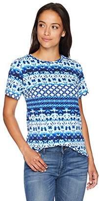 Rafaella Women's Petite Printed Embellished Knit Tee