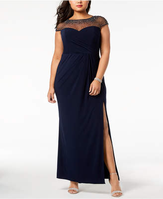 Xscape Evenings Plus Size Embellished Illusion Gown