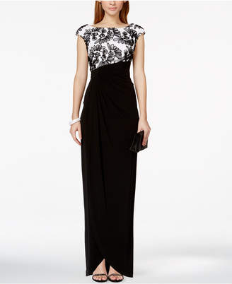 Connected Soutache-Trim Faux-Wrap Gown