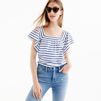 Smocked square-neck top in stripe $39.50 thestylecure.com