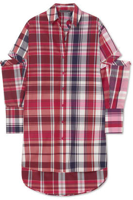 Alexander McQueen Oversized Cutout Checked Silk And Cotton-blend Shirt - Red