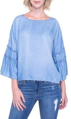 Liverpool Jeans Company Ruffle Sleeve Chambray Shirt