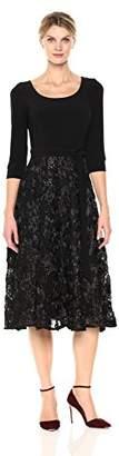 Alex Evenings Women's Petite Scoop Neck Tea Length Dress with Rosette Skirt (Regular Sizes)