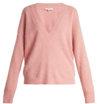 Tibi - Oversized V Neck Alpaca Blend Sweater - Womens - Pink