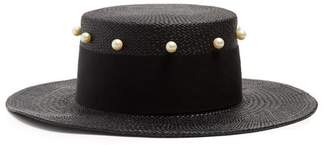 Federica Moretti Liz Faux Pearl Embellished Straw Hat - Womens - Black