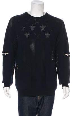 Balmain 2018 Perforated Flag Zip-Accented Sweater