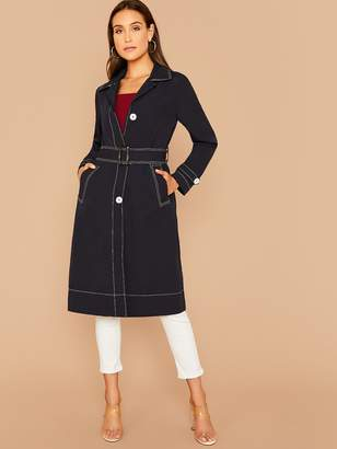 Shein Notch Collar Contrast Stitch Belted Coat