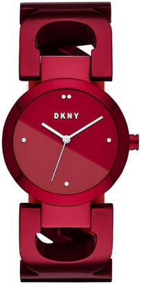 DKNY Women's City Link Red Stainless Steel Bangle Bracelet Watch 36mm