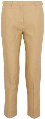 Valentino Cropped Woven Flax Slim-Leg Pants