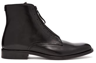 Givenchy Logo Zip Leather Boots - Mens - Black