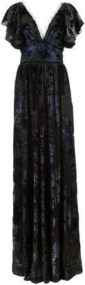 Marchesa floral print v-neck gown