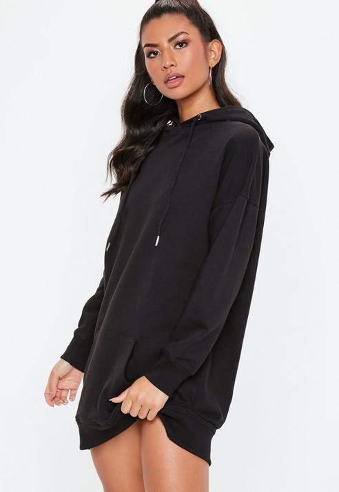 Black Oversized Hooded Jumper Dress, Black