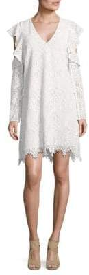 BCBGMAXAZRIA Lace Ruffle Sleeve Shift Dress