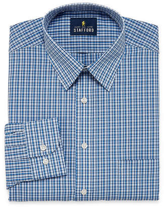 STAFFORD Stafford Travel Performance Super Shirt Big And Tall Long Sleeve Broadcloth Grid Dress Shirt
