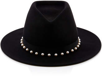 Eugenia Kim Blaine Peal Embellished Black Wool Felt Fedora