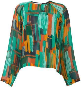 Roseanna semi sheer printed blouse