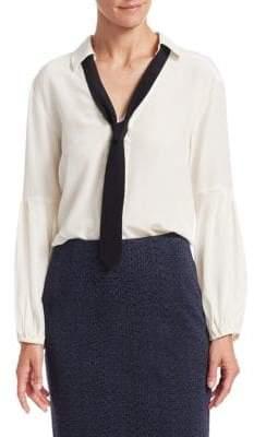 Nanette Lepore Long Sleeve Tie Neck Silk Top