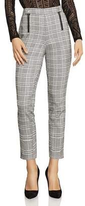 BCBGMAXAZRIA Cropped Straight-Leg Plaid Pants